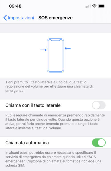 chiamata emergenza iPhone