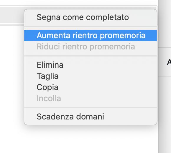 Creare sotto-promemoria su Mac