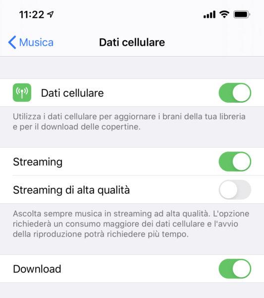 Disabilitare lo streaming di Apple Music