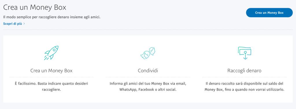 Creare Money Box dal sito web di PayPal