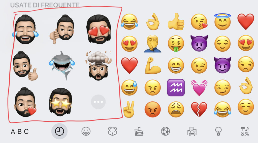 Rimuove gli stickers Memoji dalla tastiera di iPhone