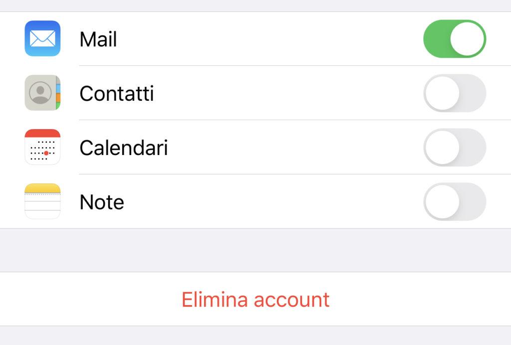 Eliminare un contatto di account terzi