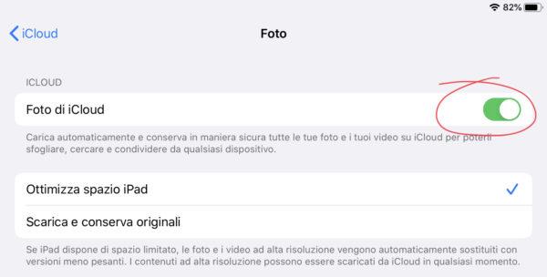 Attivare Foto iCloud su iPhone