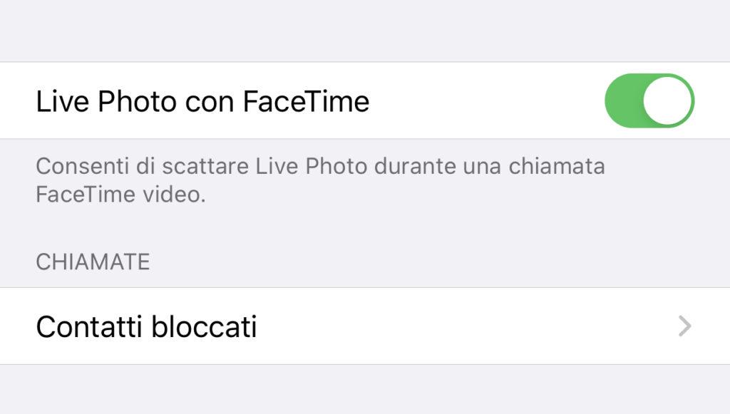 Attivare le Live Photos su FaceTime