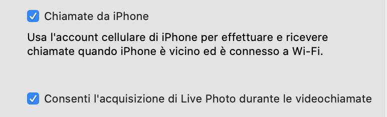 Attivare le Live Photos su FaceTime da Mac