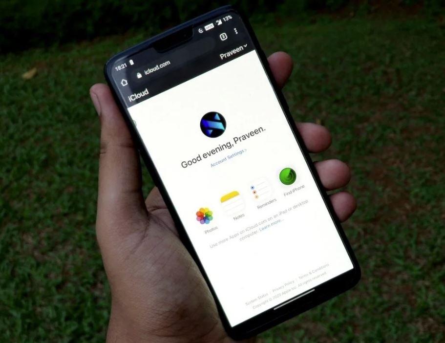iCloud sul web da Android