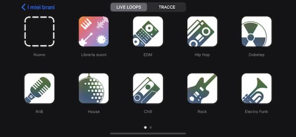"""Accedere alla sezione """"Live Loops"""" e cliccare su """"Nuovo"""""""