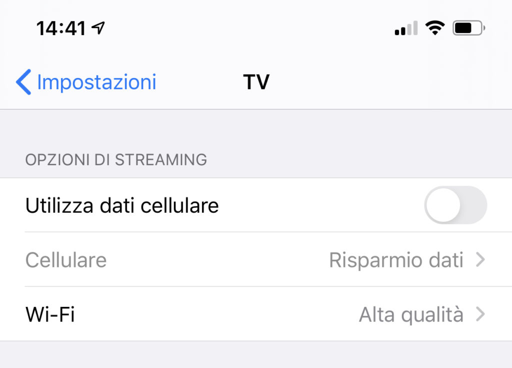 Modificare le opzioni di streaming di Apple TV+