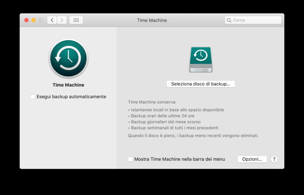 Effettuare il Backup del Mac sull'Hard Disk esterno