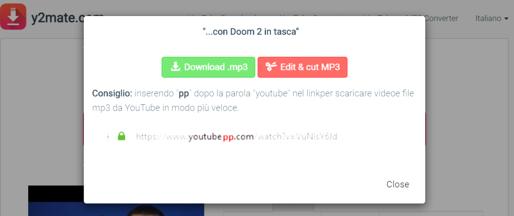 Come scaricare musica da YouTube y2mate.com