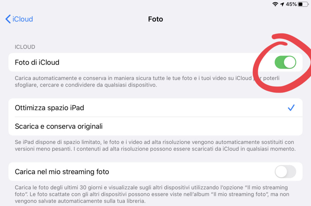 """Disattivare """"Foto di iCloud"""" su iOS"""