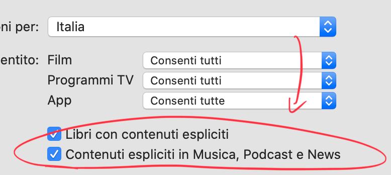 Consentire contenuti espliciti su Mac