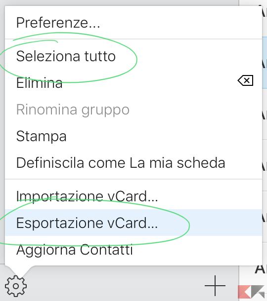 Esportazione vCard...