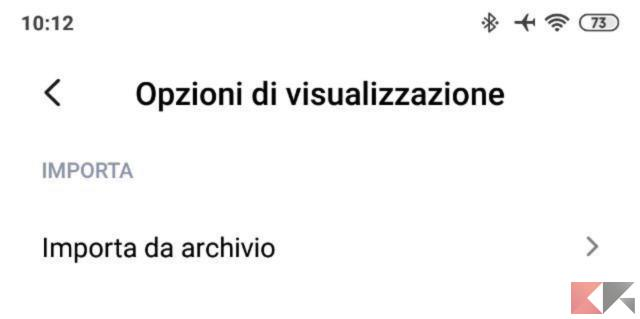 Importa da archivio