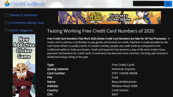 creditcardrush generatori carte credito