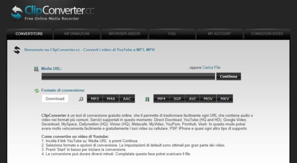 clipconverter scaricare video internet