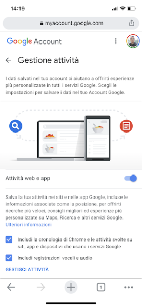 Comandi vocali Google