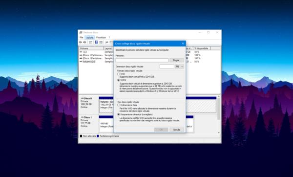 Creare un disco rigido virtuale