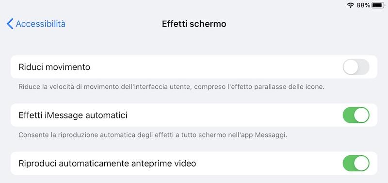 Diminuire gli effetti di iOS
