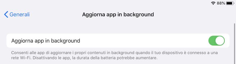 Disattivare l'aggiornamento delle app in background