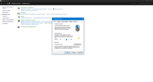 Modificare parametri mouse