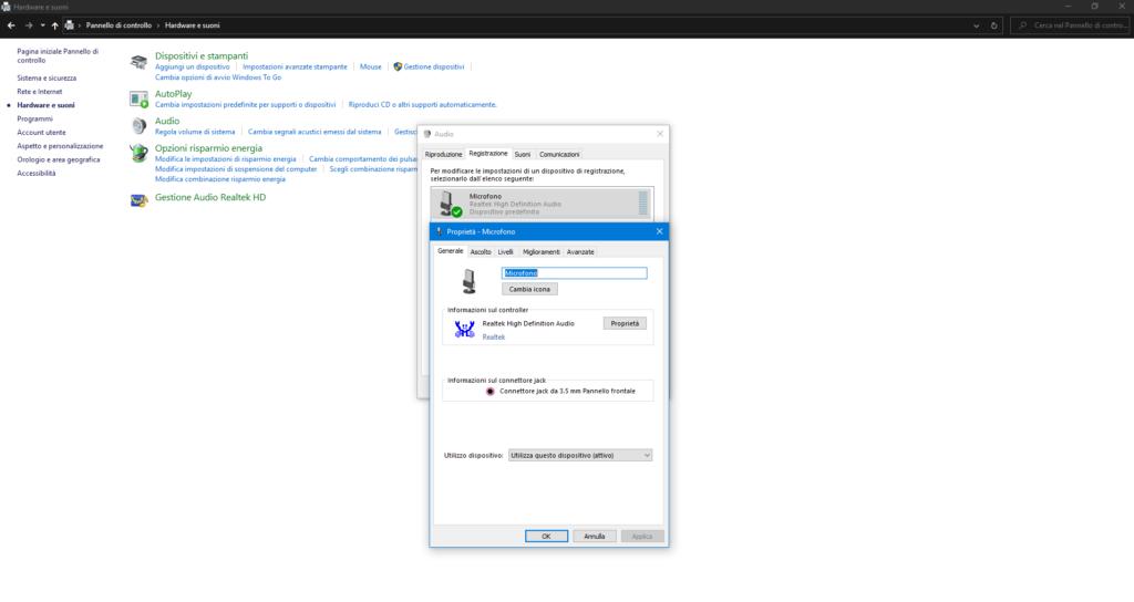 Utilizzo microfono Windows 10