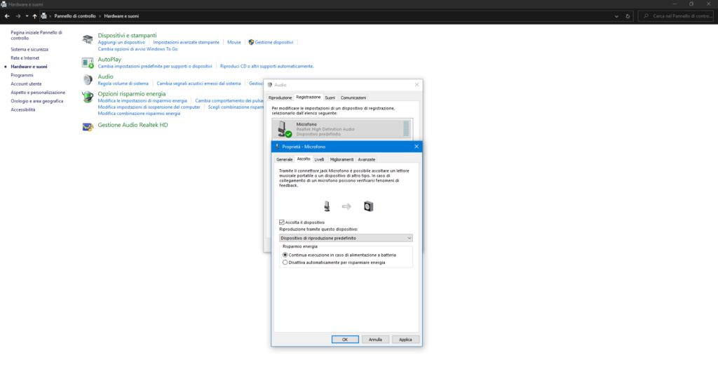 Verifica suono Windows 10