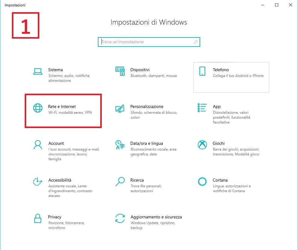 impostazioni windows
