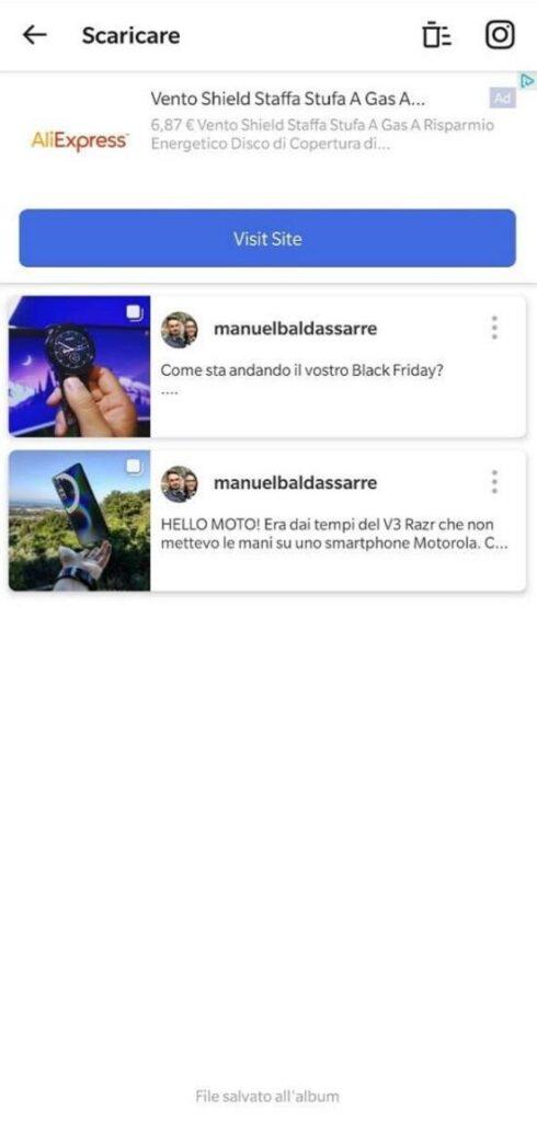 Come scaricare foto da Instagram - Vidma InSaver