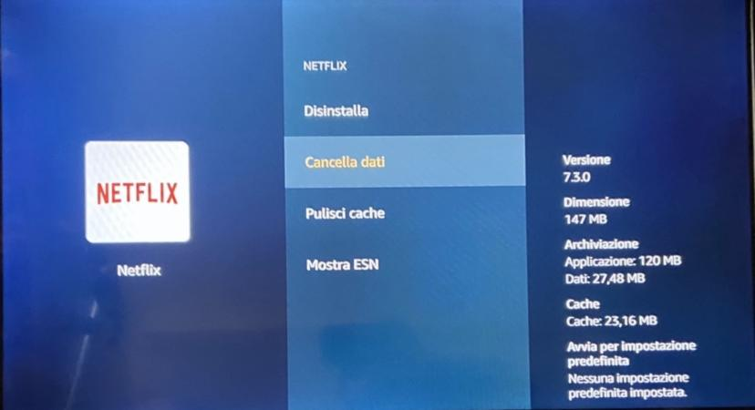 Eliminare dati app Fire TV Stick