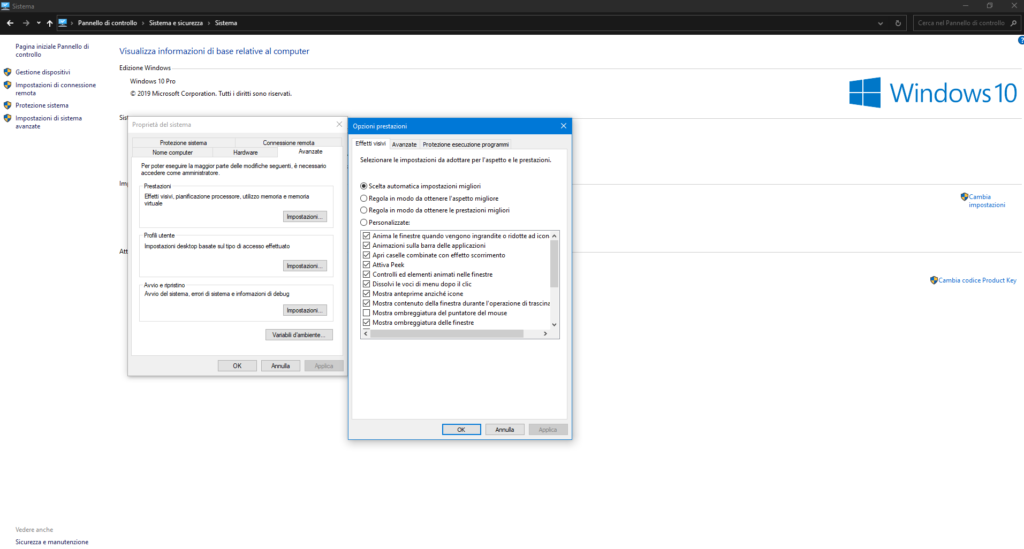 Ridurre animazioni Windows 10