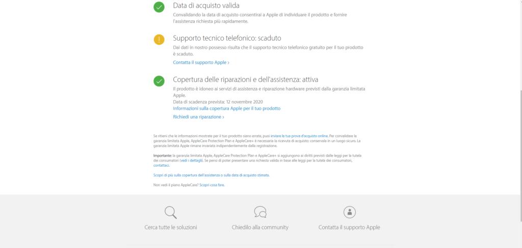 Verifica garanzia sito Apple