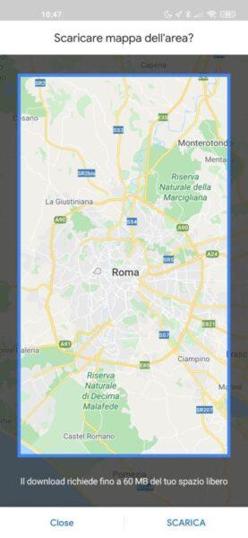 selezione mappa google maps