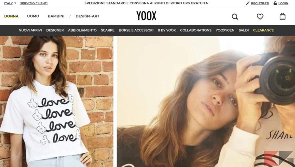 yoox, abbigliamento generico e tante scarpe