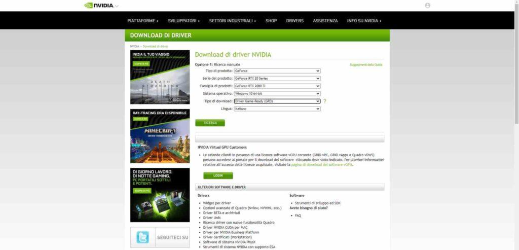 Driver sito produttore