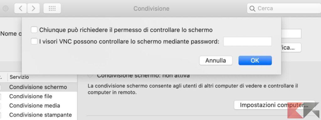 I visori VNC possono controllare lo schermo mediante password