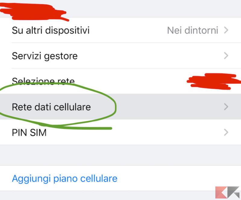 Modificare le impostazioni di rete dati cellulare per ho.mobile