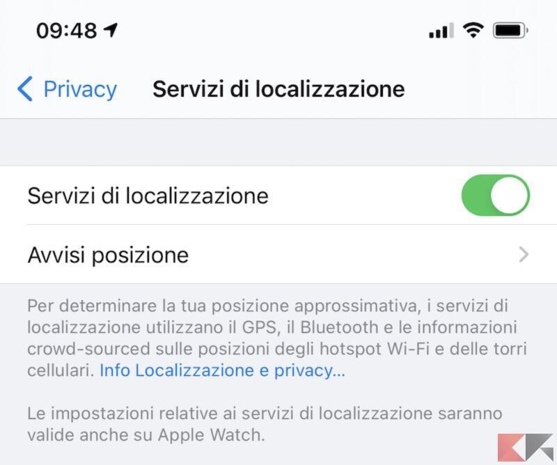 Disattivare geolocalizzazione su iPhone