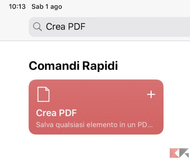 Crea PDF comandi