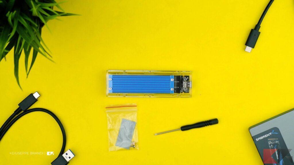 Recensione ORICO M.2 SSD Enclousre - Contenuto confezione