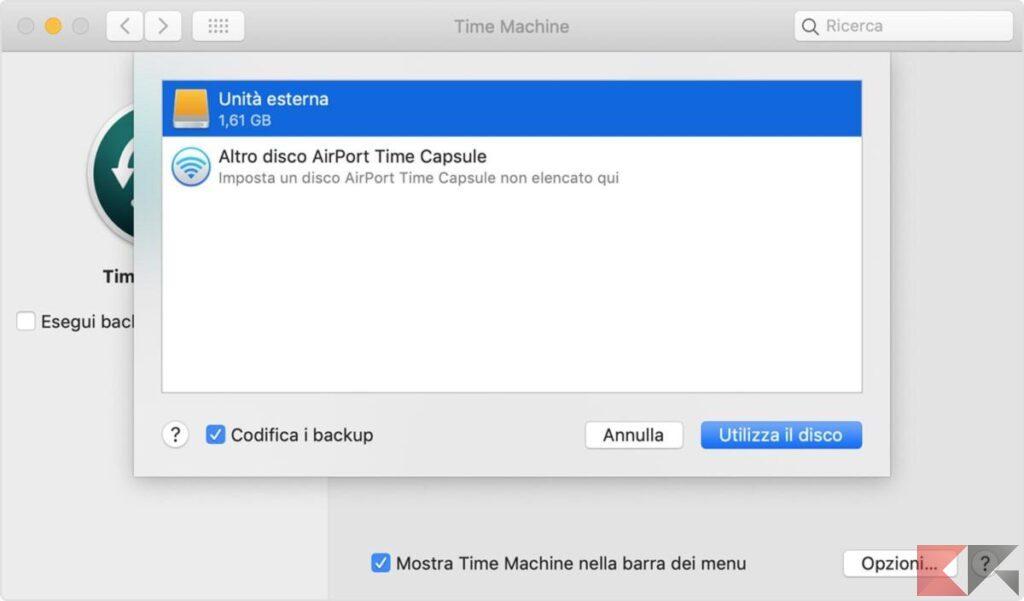 Eseguire un backup con Time Machine 2