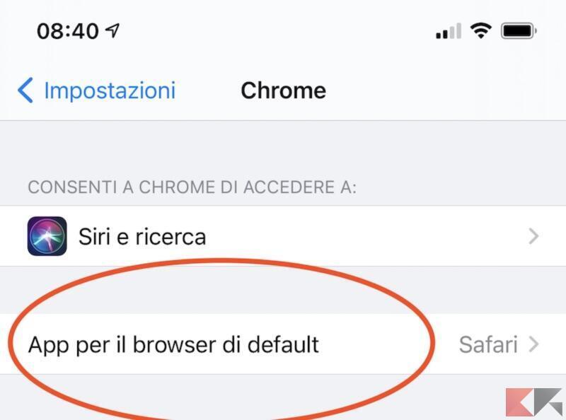 Modificare il browser di default di iPhone e iPad 1