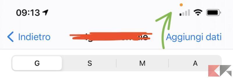 Cosa significa il puntino arancione?
