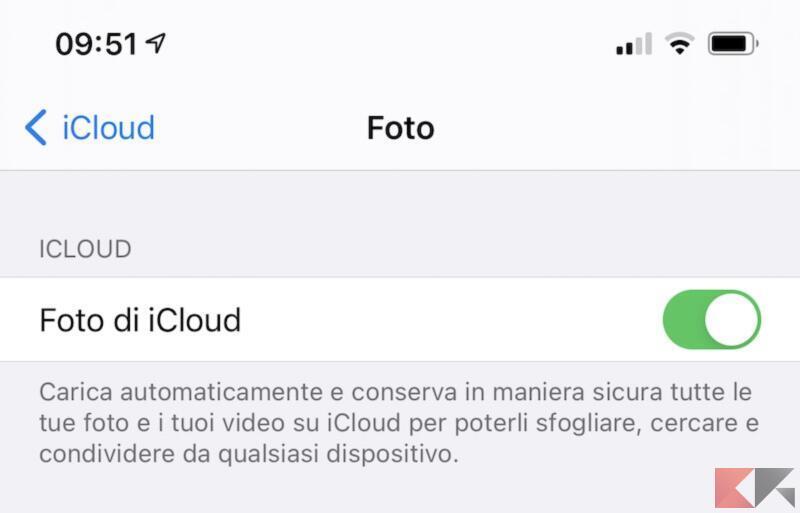 Sincronizzare la galleria con iCloud