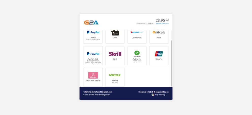 Metodi di pagamento G2A