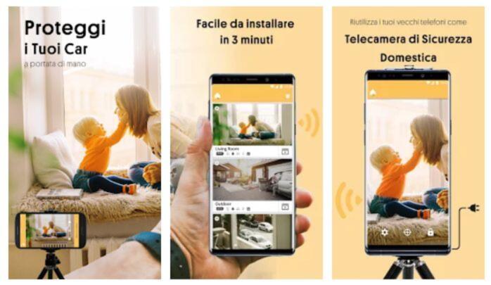 Varie immagini che mostrano il funzionamento dell'App che permette di registrare video di nascosto, chiamata Alfred Security Camera