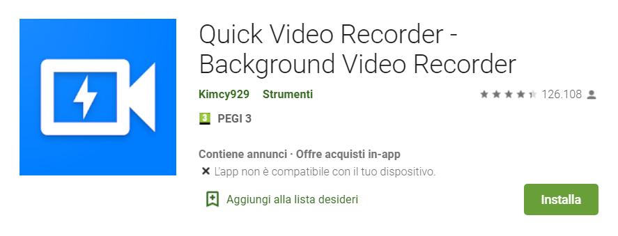 Screen di Quick Video Recorder che permette di registrare video di nascosto