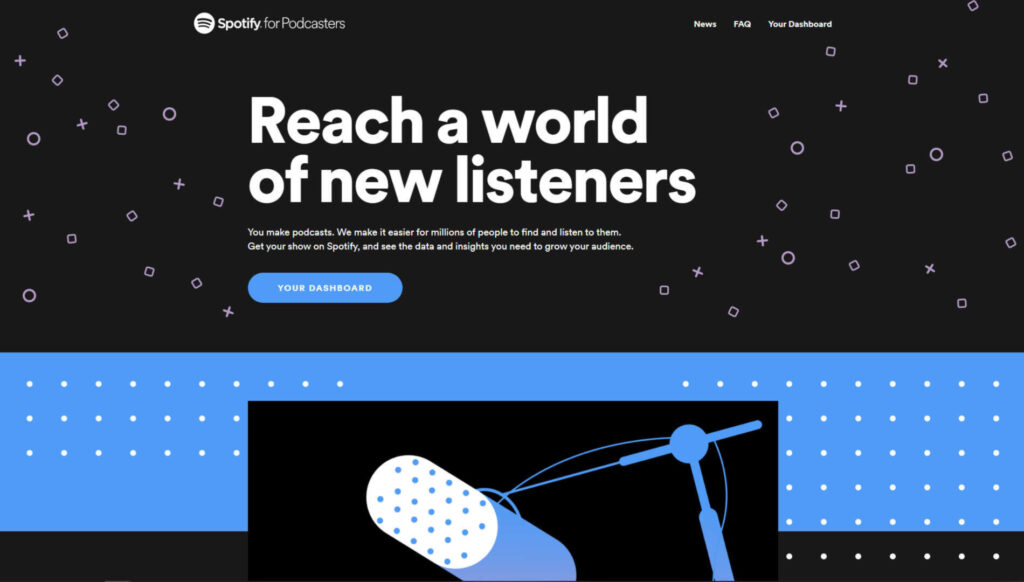 Screen della homepage di Spotify for podcasters