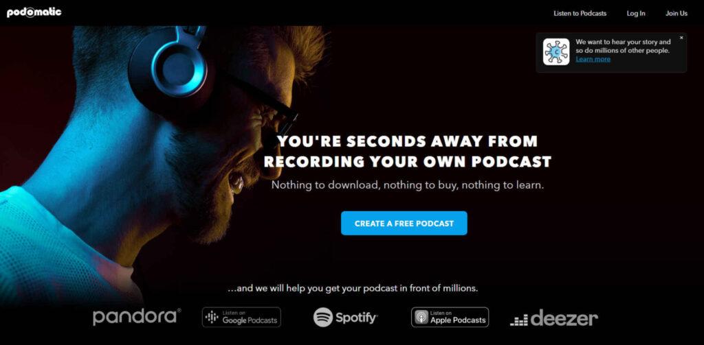 Screen che mostra la schermata principale del sito Padomatic.