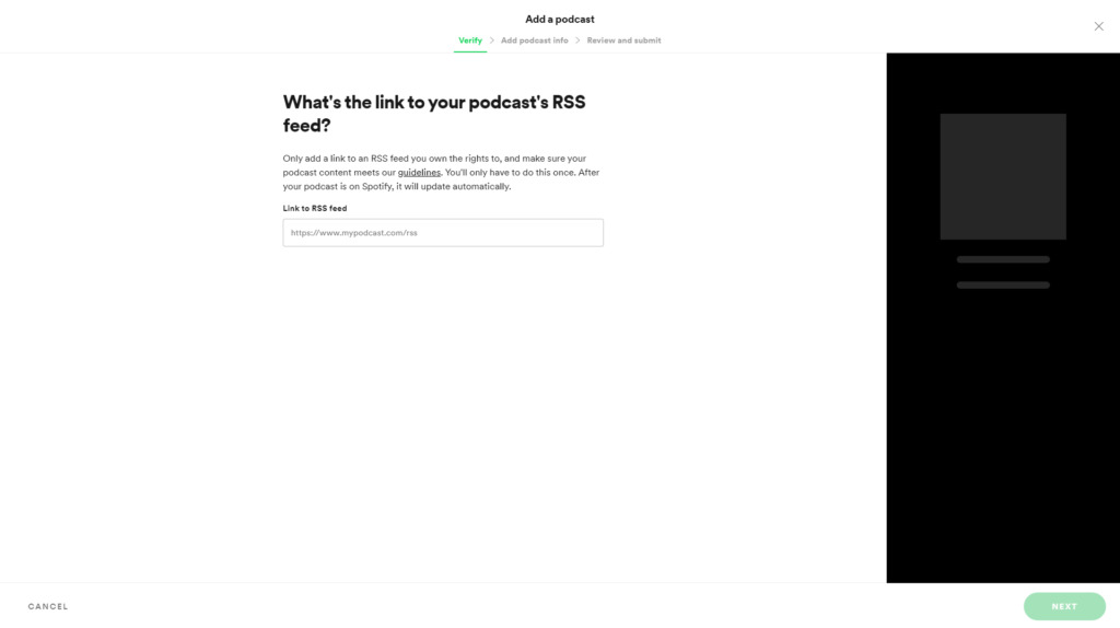 Schermata di Spotify for Podcasters che mostra il primo step per collegare un feed RSS esistente